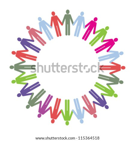 A ring of multi coloured people icons holding hands.