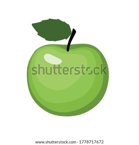 a ripe green apple with a green