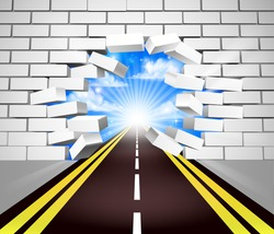 A road breaking through a white brick wall, concept for overcoming adversity or obstacles in life or in business