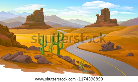 A road leading to the mountains across a dry desert.