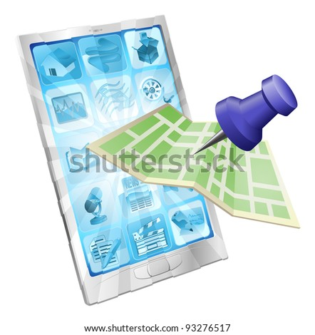 A road or city map flying out of a mobile phone. Concept or icon for map app or internet website with maps or other GPS related. - stock vector