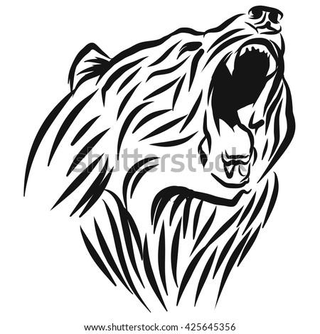 a roaring bear head logo this