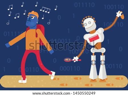a robot follows a man  watching