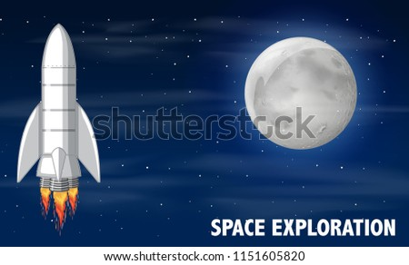 A rocket and space exploration illustration