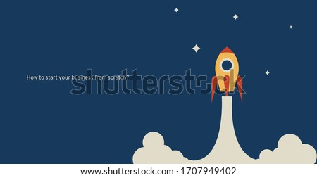 A rocket takes off into the sky. Vector illustration, flat design. Photo stock ©