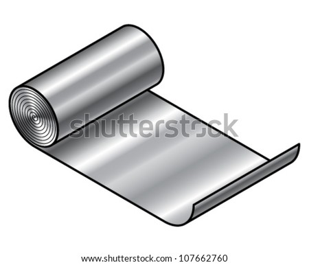 A roll of sheet metal - stainless steel or aluminium.