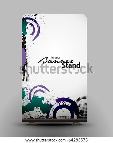 a rolup display with stand banner template design, vector illustration.