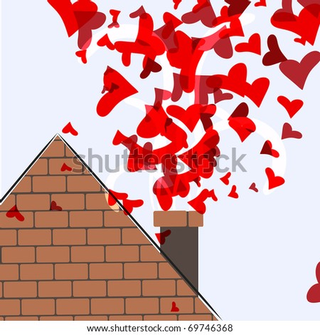 A roof with a chimney from which go the heart - a symbol of love.10 eps - stock vector