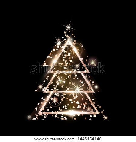 A rose gold geometric Christmas tree made of triangles. Pink Golden Glitter. For Xmas and Happy new year. Vector illustration on black background. Glowing and shimmering rosy golden confetti.