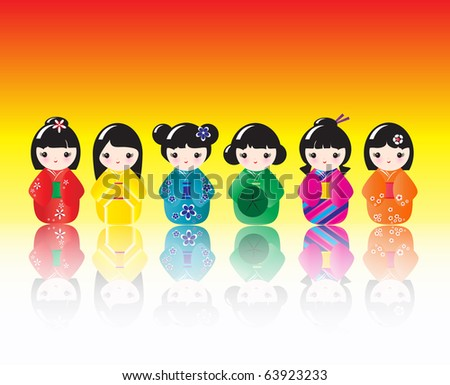 A row of brightly coloured Kokeshi dolls with reflections. EPS10 vector format