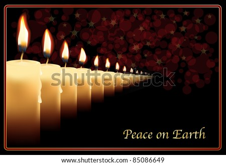 "A row of photo realistic candles on a Christmas card template. ""Peace on Earth' can be easily replaced with your own text. EPS10 vector format"