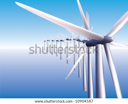 A row of windmills in the ocean creating offshore wind power