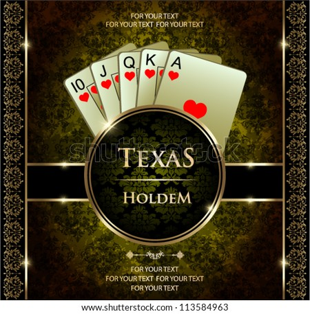 A royal flush playing cards poker hand in hearts.
