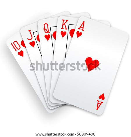 a royal straight flush playing