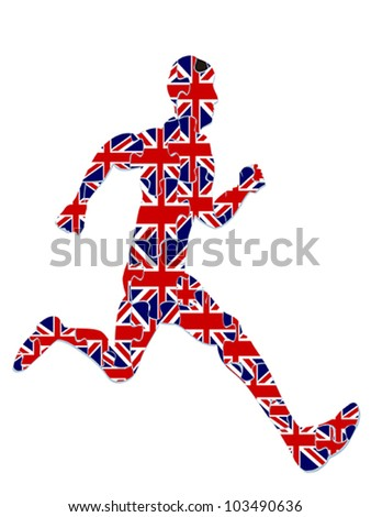 a runner with UK flag jigsaw on white background