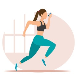 A running lady using inhaler with pink window background. An athlete in sport bra green pants holding inhaler for Asthma disease in vector