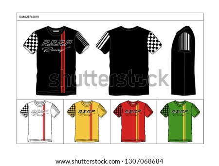 A.S.A.P Racing,  t-shirt and apparel design, typography, print, vector illustration. Global swatches.