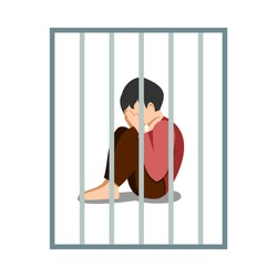 A sad boy is locked up in a cage. The concept of limiting children's abilities in society. Illustration of human character.
