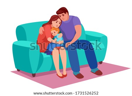 a sad family sits on couch, mom holds  upset kid to his knees and hugs him, dad pity his wife, they have grief. Stock photo ©