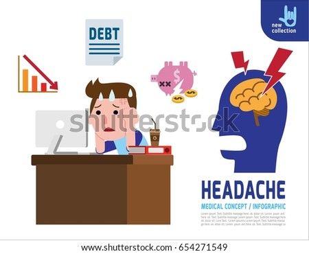 A sad man Headache with financial stress