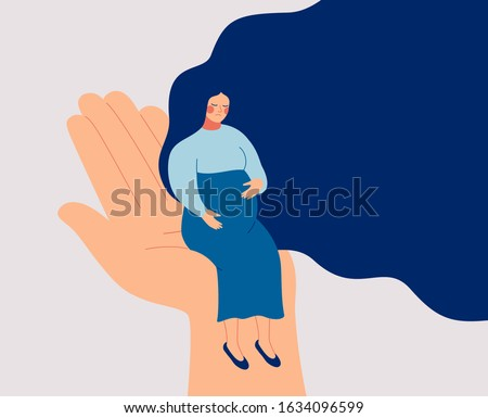 A sad pregnant woman needs prenatal care and support. A young woman expecting a child is depressed. Psychological and medical vector illustration
