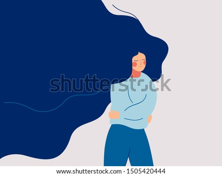 A sad woman with flowing hair runs away from the problems in her life. The depressed teenager withdrew into himself, hugging his elbows. Colorful vector illustration in flat cartoon style