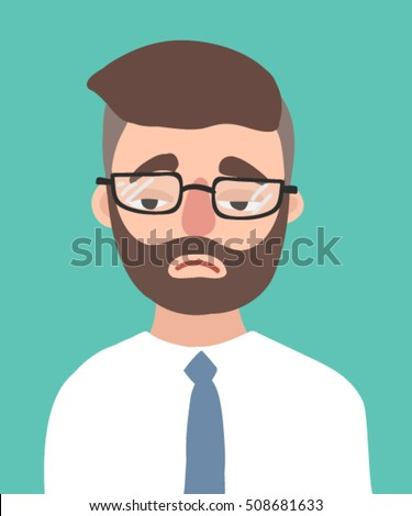 A sad young hipster man with the beard vector flat design illustration isolated on aquamarine background. Melancholy office worker. Depressive businessman with glasses