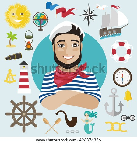 a sailor and marine elements