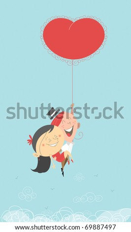 A Saint-Valentine's romantic retro illustration of a man and woman flying in the sky, going to paradise holding a hot air big heart red balloon