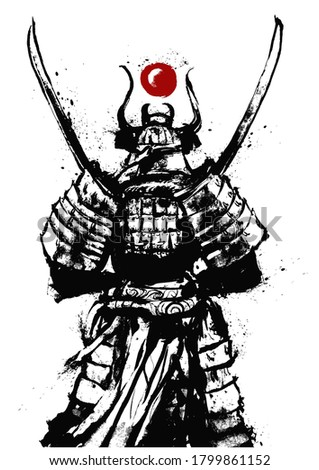 A samurai standing with his back to the viewer with two Katanas crossed at his chest. It is equipped in Japanese armor,. drawn in ink. 2D illustration.