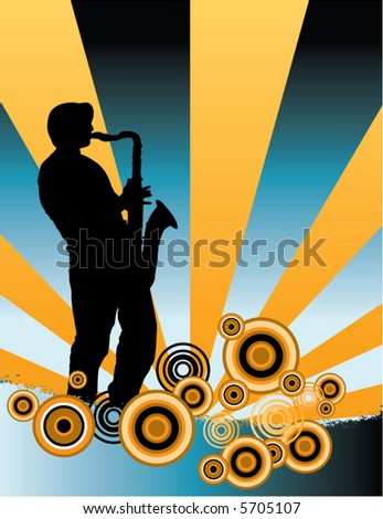 A sax player silhouette with music cascade plus grunge