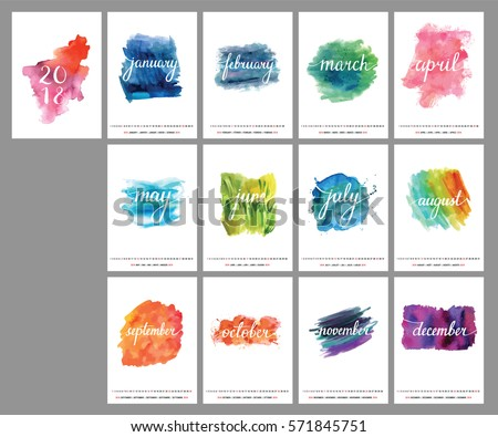 A scalable vector calendar for the year 2018. Each of the twelve months and the cover is presented on a corresponding bright watercolor texture. There is a place for text and logos