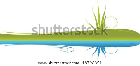 A scalable vector illustration of a grass verge reflected in a body of water