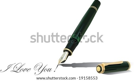 A scalable vector illustration of a green fountain pen writing sample text