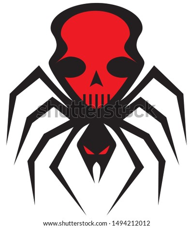a scary flat vector spider with