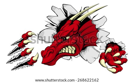 a scary red dragon mascot