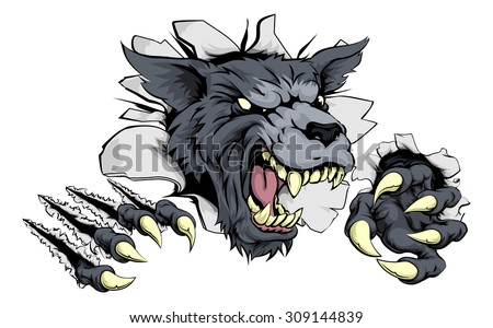 a scary wolf mascot ripping