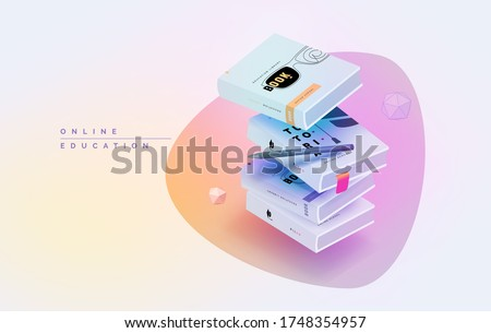A scattered pile of books. Workspace for online learning. Online education. Learning at home. Modern vector illustration isometric style.