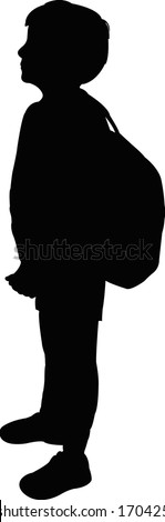 a school body with backpack, silhouette vector