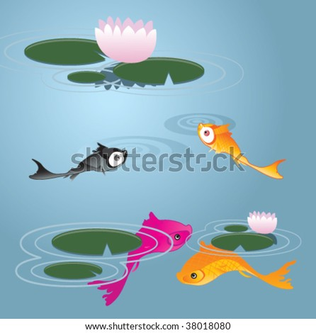 A School of Koi Fish with Lily Pads