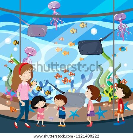 A School Trip To Aquarium illustration
