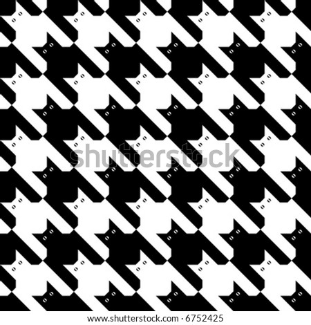 "A seamless ""cats"" houndstooth pattern in black and white."