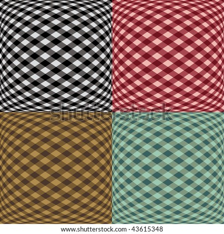 A seamless fish-eye gingham pattern in four colorways.