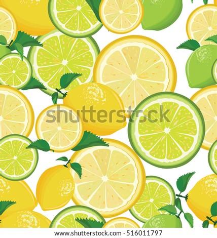 a seamless lemon and lime
