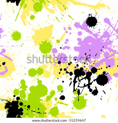A seamless pattern of coloured grungy blots
