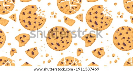 A seamless pattern of cookies and chocolate crumbs.