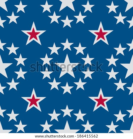 A seamless pattern of silvery stars on a blue background with some red highlights
