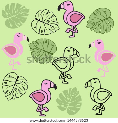 A seamless pattern on a light green background, consists of palm leaves and flamingos (in color, in the outline, and in color with the outline), turned in different directions, in a vector.