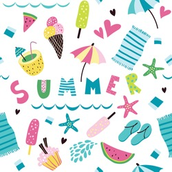A seamless pattern with summer attributes for your design.