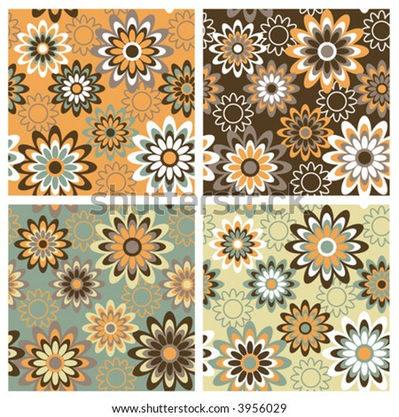 A seamless, repeating retro floral pattern in four fashion autumn colorways.